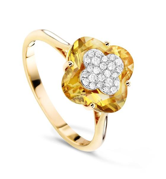 Кольцо с цитринами и бриллиантами