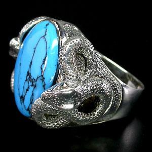 Кольцо змея с Бирюзой