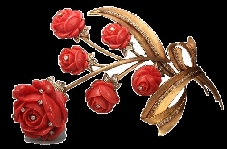 Брошь с кораллом розы