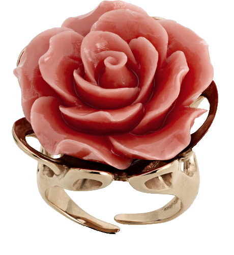 Кольцо роза из коралла