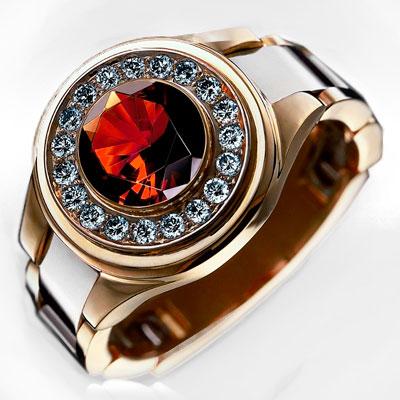 Золотое кольцо с гиацинтом и бриллиантами