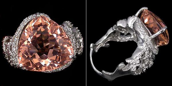 Серебряное кольцо с морганитом