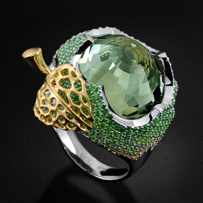 Кольцо с празиолитом