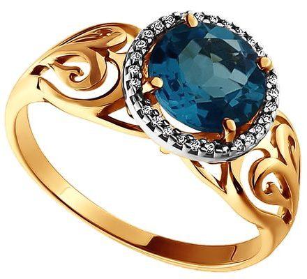 Золотое кольцо топаз овен
