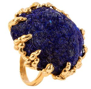 Кольцо с камнем азурит
