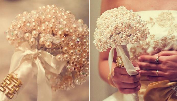 Свадебный букет из жемчужин