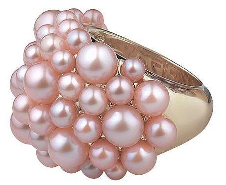 Кольцо с розовыми жемчужинами