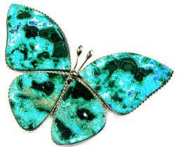 Бабочка с камнем Хризоколла