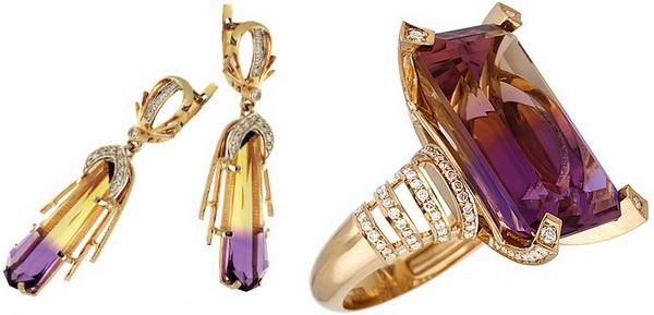 Серьги и кольцо с Аметрином