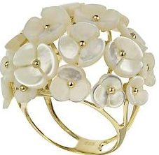 Кольцо с перламутровыми цветочками