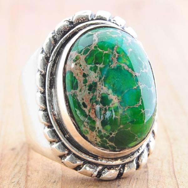 Кольцо с зеленой Яшмой