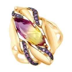 Кольцо золотое с ситаллом